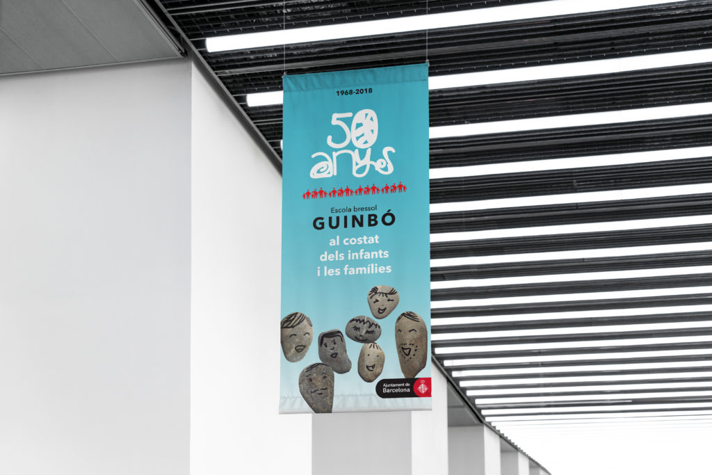 Disseny pancarta 50 anys Escola Bressol Guinbó